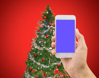Smartphone in xmas Royalty Free Stock Image
