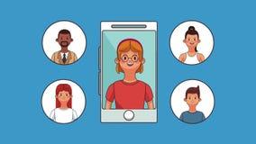 Smartphone y animación de la gente HD ilustración del vector