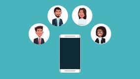 Smartphone y animación de los contactos comerciales HD libre illustration
