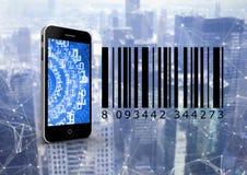 Smartphone y código de barras delante del fondo digital ilustración del vector