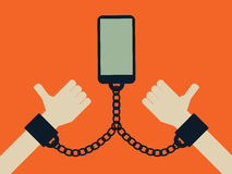 Smartphone y concepto del apego de la tecnología de Internet del teléfono móvil Apego social de los medios y de las redes ilustración del vector
