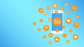 Smartphone y 5G con la flotación del icono de los apps Imagenes de archivo