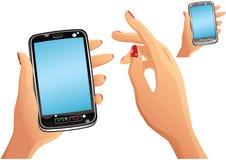 Smartphone y manos Stock de ilustración
