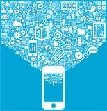 Smartphone y medios iconos sociales Imagen de archivo libre de regalías