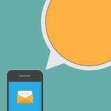 Smartphone y mensaje de la charla de la burbuja stock de ilustración