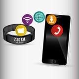 smartphone y pulsera elegante que comparten el uso stock de ilustración