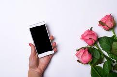 Smartphone y rosas rosadas en un fondo blanco Foto de archivo