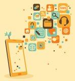 Smartphone y social, medio, iconos del web Foto de archivo