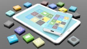 Smartphone y tableta con los apps en forma del cuadrado biselado ilustración del vector