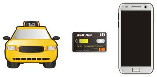 Taxi with card and mobile Stock Photo