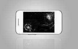 Smartphone z łamanym ekranem Fotografia Stock
