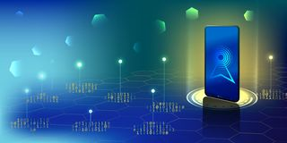 Smartphone z cyfrową logo anteną Smartphone otrzymywa connec fotografia stock