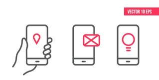 Smartphone z e-mailowy zastosowaniem na ekranie, lokacji ikona i pomysł kreskowa ikona biznesowego projekta elementu ręki wisząca ilustracja wektor