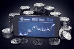 Smartphone z Monero handlu mapą na ekranie wśród stosów srebne Monero monety ilustracji