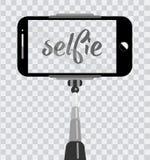 Smartphone z pustym ekranem na monopod odizolowywającym na przejrzystym tle Selfie fotograficzny na telefonu komórkowego pojęciu  royalty ilustracja