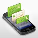 Smartphone z wiadomość bąblami rozmowa royalty ilustracja