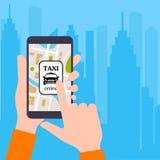 Smartphone z zastosowaniem usługa miasta taxi ilustracji