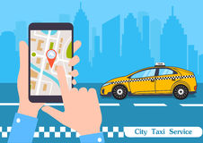 Smartphone z zastosowaniem usługa miasta taxi na ekrane ilustracji