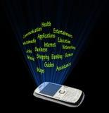 Smartphone zastosowania i cechy Zdjęcia Stock