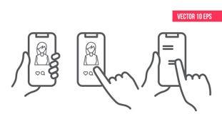 Smartphone zastosowania pojęcie Jak ikona, ręki ikona Wiadomość tekstowa telefon komórkowy Ogólnospołeczny medialny pojęcie ilustracji