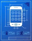 Smartphone zoals blauwdruktekening Stock Fotografie