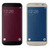 Smartphone zwart en gouden met het rode en blauwe gesloten huisscherm Stock Afbeelding