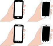 Smartphone in zwart-witte kleur met het witte scherm en het zwarte scherm in het handvat stock fotografie