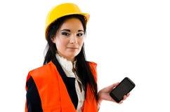 smartphonekvinna Fotografering för Bildbyråer