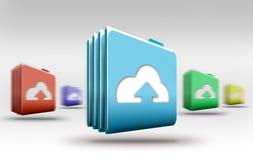 smartphonen surfar på molnet i himmel Arkivbild