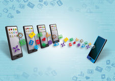Smartphones数据和目录调用 图库摄影