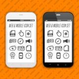 Smartphones με τα εικονίδια, εφαρμογές Κινητό τηλέφωνο ρεαλιστικό Eps10 διανυσματικό σχέδιο ελεύθερη απεικόνιση δικαιώματος
