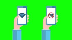 Smartphones με το σημάδι WI-Fi στην οθόνη στα ανθρώπινα χέρια διανυσματική απεικόνιση
