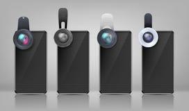 Smartphones вектора черные с зажим-на объективами бесплатная иллюстрация