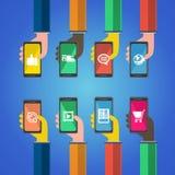 Smartphones в руках Передвижная принципиальная схема apps Стоковая Фотография RF