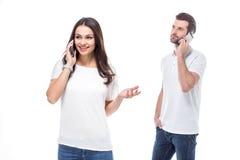smartphones пар используя Стоковые Изображения