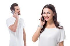 smartphones пар используя Стоковая Фотография RF
