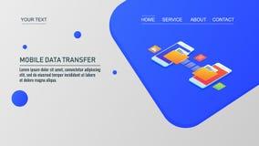 Κινητή μεταφορά δεδομένων, δύο smartphones που μεταφέρει τα στοιχεία η μια μ στοκ φωτογραφία με δικαίωμα ελεύθερης χρήσης