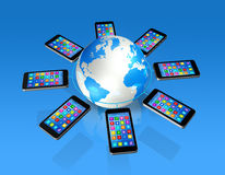 Smartphones Around World Globe, Global Communication Royalty Free Stock Photography