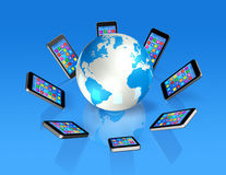 Smartphones Around World Globe, Global Communication Stock Image