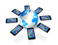 Smartphones Around World Globe, Global Communication Stock Photography