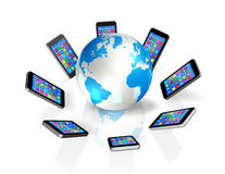 Smartphones Around World Globe, Global Communication Royalty Free Stock Photos