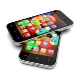 Smartphones auf einem Weiß Lizenzfreie Stockfotografie