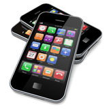 Smartphones auf einem Weiß Stockbilder
