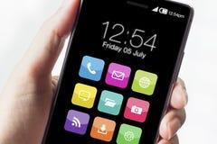 Smartphones avec des icônes d'application Images stock