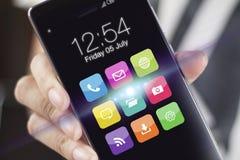 Smartphones avec des icônes d'application Image stock