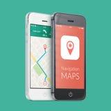 Smartphones blancos y negros con la navegación app de los gps del mapa en el s Foto de archivo libre de regalías