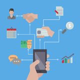 Smartphones with business icons. Royalty Free Stock Photos