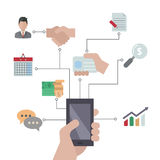 Smartphones with business icons. Royalty Free Stock Images