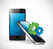 Smartphones and business industrial gears. Stock Images