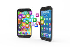 Smartphones with cloud of application icons stock illustration